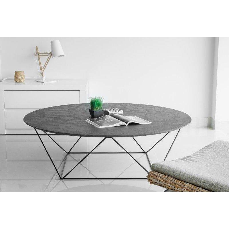 Table Basse Ronde Industrielle Tania En Revetement Mineral Noir Table Basse Ronde Table Basse Table Basse Design