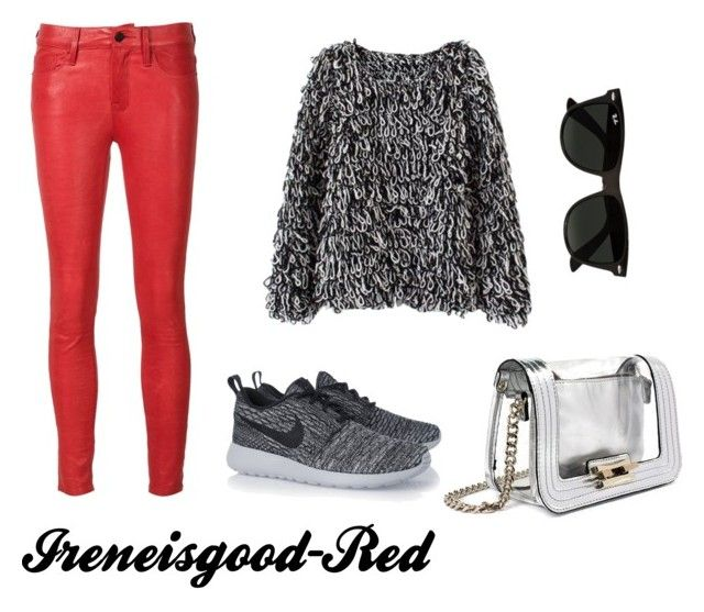 Ireneisgood - red by tamaraispeople on Polyvore featuring Frame Denim, NIKE, Mohzy and Ray-Ban