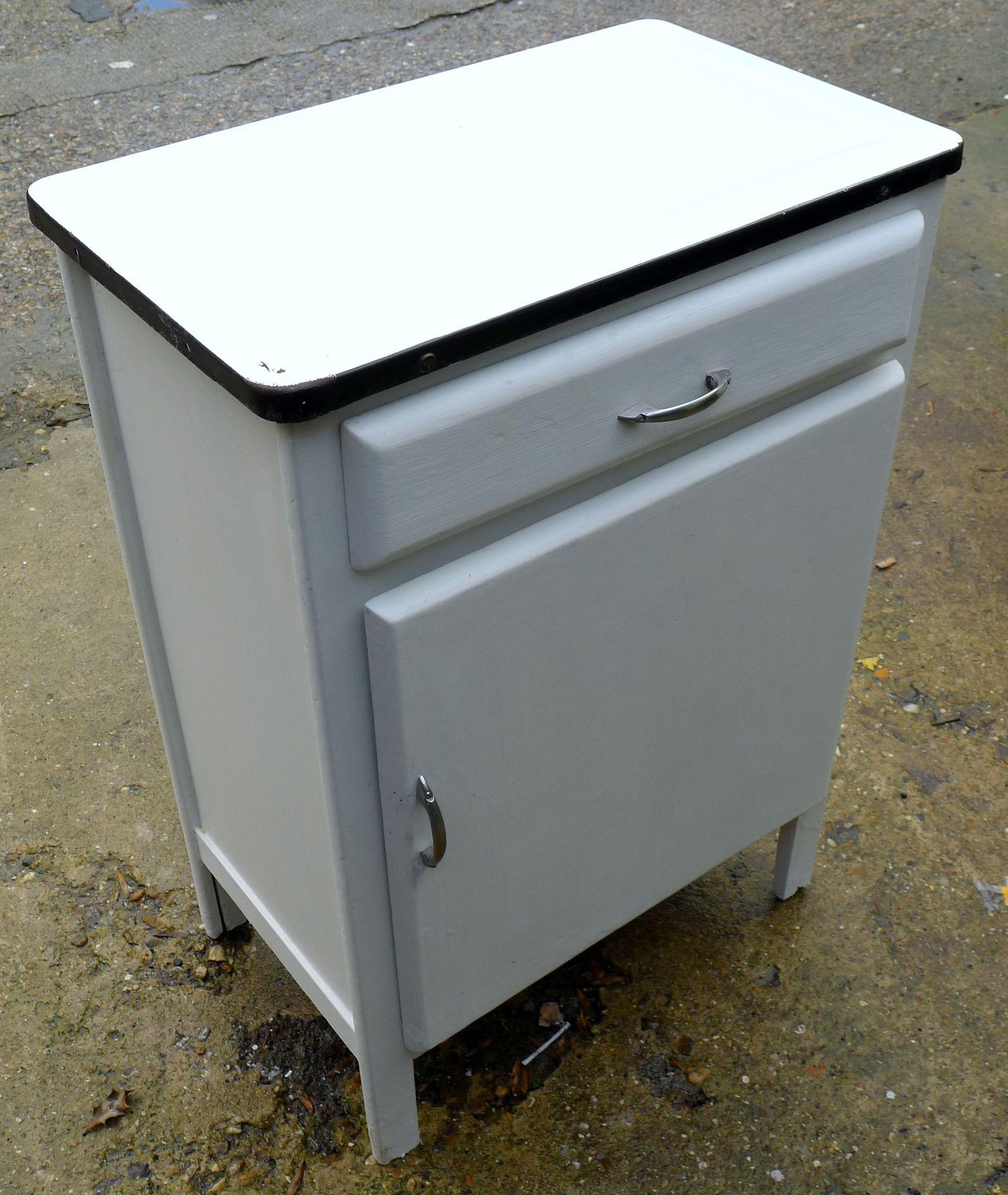 Enamel Top Cabinet Vintage Kitchen Island Work Station Enamel Top Cupboard Cabinet
