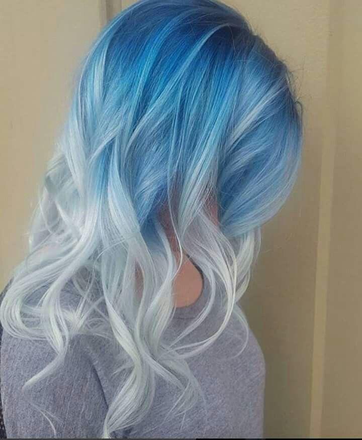 Blue Frost Ombre Light Blue Hair Hair Color Blue Cool Hair Color
