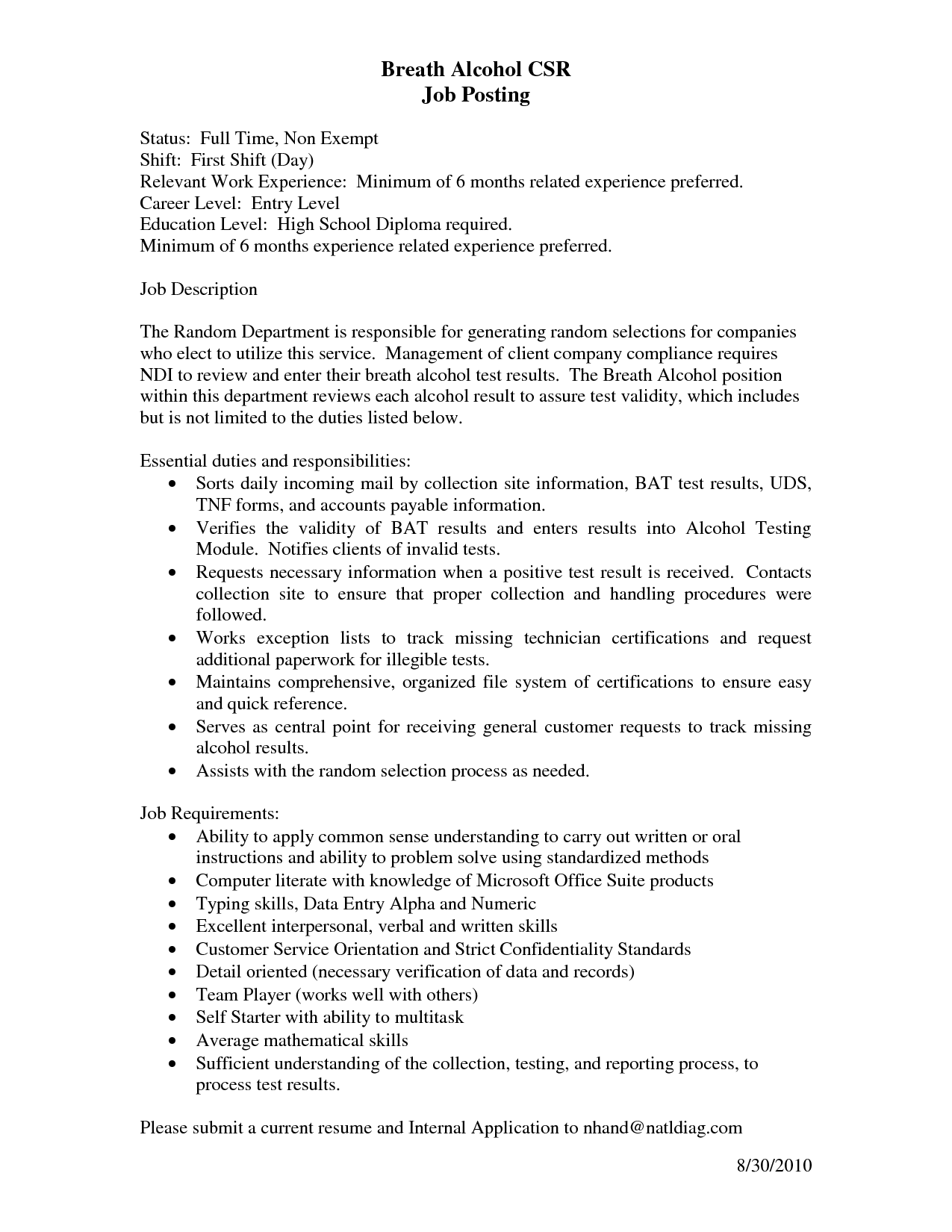 Bilingual Coordinator Sample Resume Insurance Specialist Listing