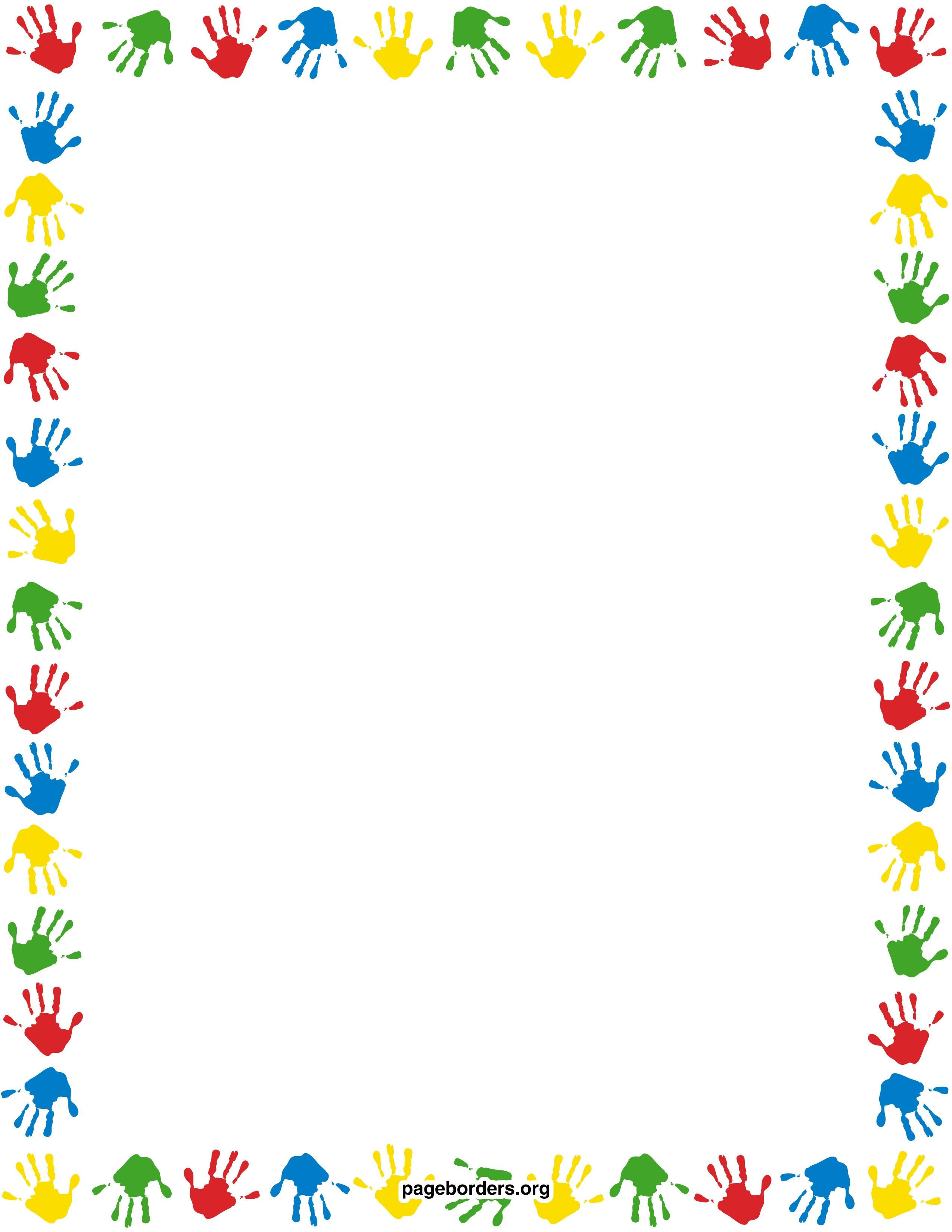 handprint border watermarked. (2550×3300) | pagina randen