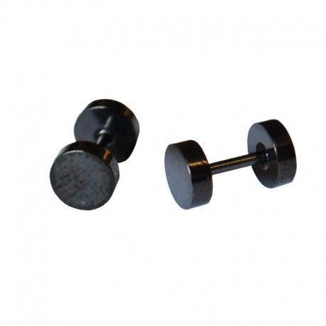 Pair Of Men S Black Stainless Steel Fake Ear Plug Earrings 6mm Mensfashion Mensearrings
