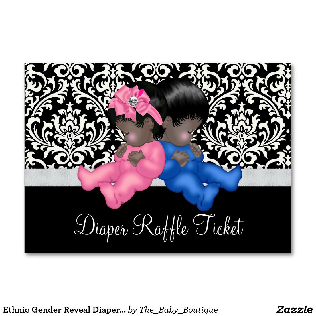 Ethnic gender reveal diaper raffle tickets diaper raffle card magicingreecefo Choice Image