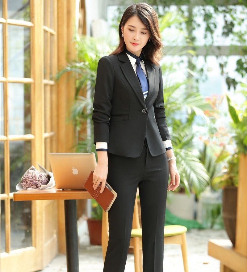 796ce2be83 Black Blazer Women Business Suits Formal Office Suits Work Wear Ladies Pant  and Jacket Sets Office Uniform Styles