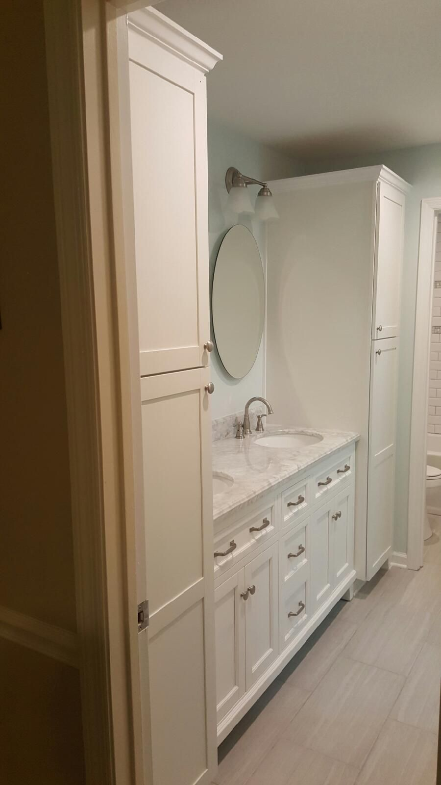 Linen Towers From Lowe S Mirrored Medicine Cabinets Floor Tile And Light Fixtures Are