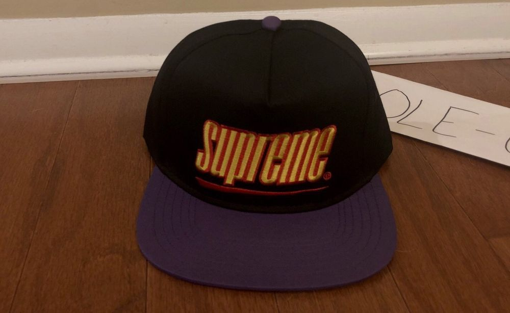 e06b2ad244c15 Supreme Underline 5 Panel Hat SS18 Snapback Black Purple Cap 6 Panel   fashion  clothing