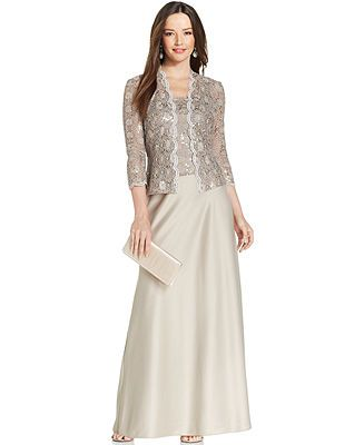 Alex Evenings Sequin-Lace Satin Gown and Jacket - Dresses - Women ...