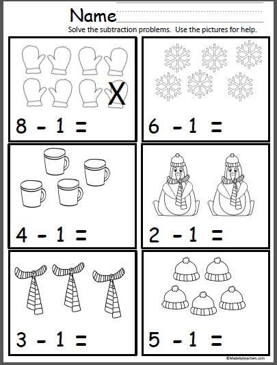 Winter Math (Subtract One)   Subtraction kindergarten ...