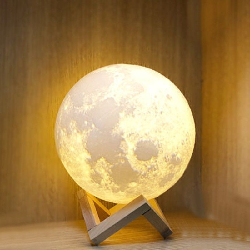 Rechargeable 3d Moon Night Light With Touch Control Usb Charging Cable Best Gift For Friends Kids And More In 2020 Night Light Kids Night Light 3d Printing