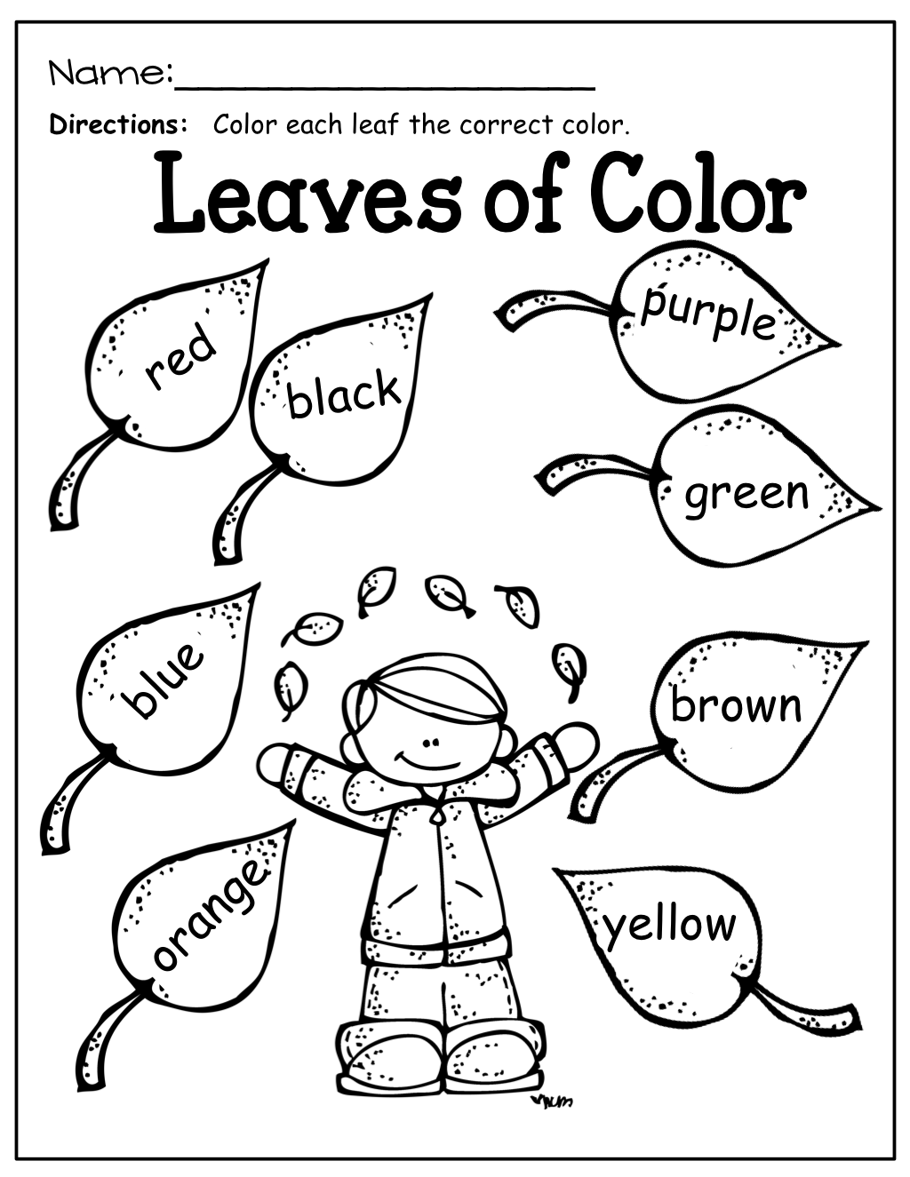 color by color words kinderland collaborative fall preschool preschool worksheets. Black Bedroom Furniture Sets. Home Design Ideas