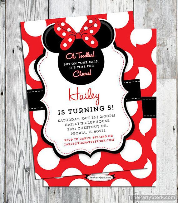 Minnie mouse invitation red printable minnie mouse birthday party minnie mouse birthday invitations printable girls party invitation minnie inspired black red white polka dots free backside filmwisefo