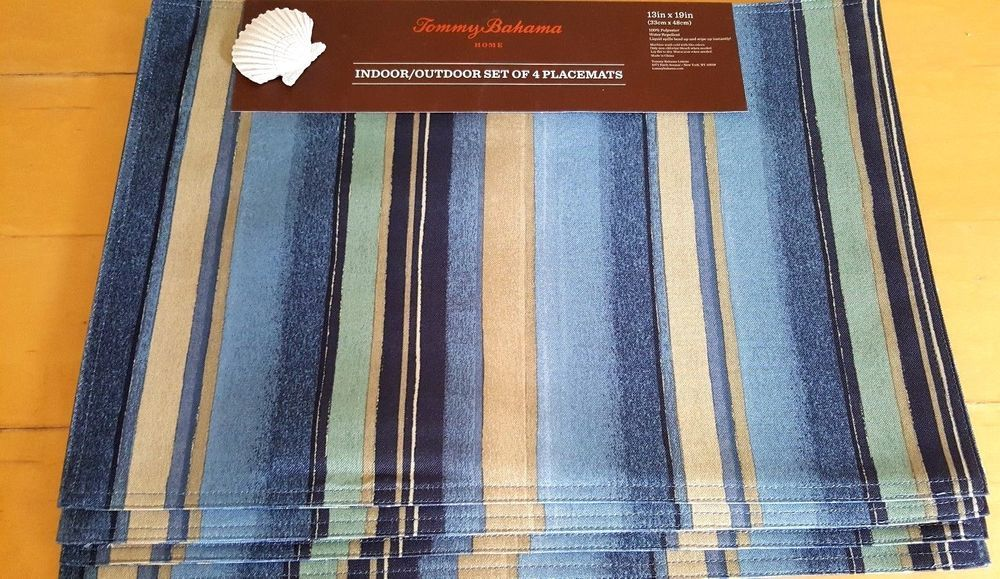 4 Tommy Bahama Placemats Kalani Blue Ocean Outdoor Easy