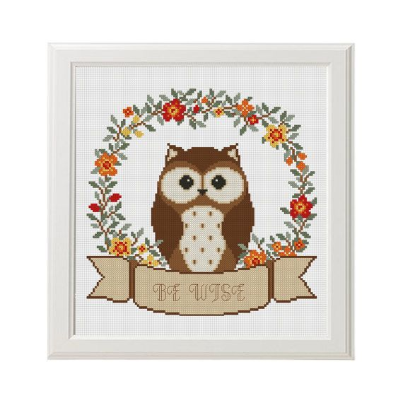 Be Wise Owl baby cross stitch pattern Animals Woodland room unique ...