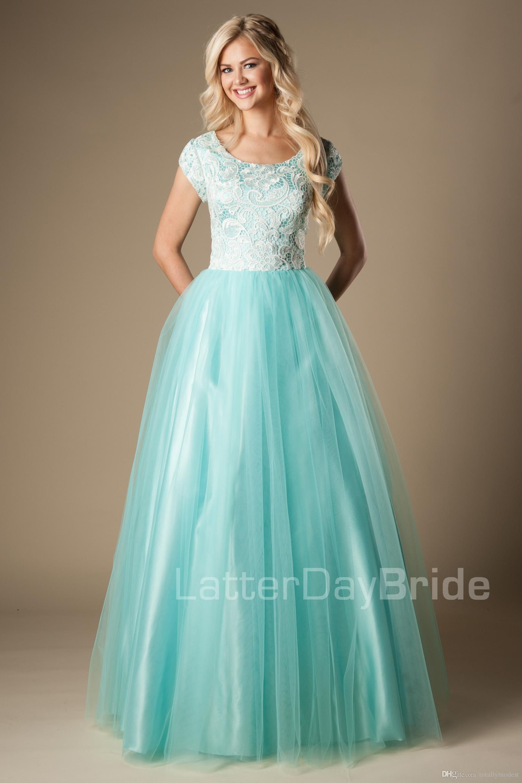 Mint Lace Tulle Modest Prom Dresses With Cap Sleeves 2016 A-line ...