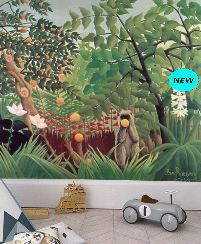 Jungle Animals Wallpaper Mural Removable Peel Stick Etsy Jungle Wall Mural Jungle Wallpaper Nursery Wallpaper