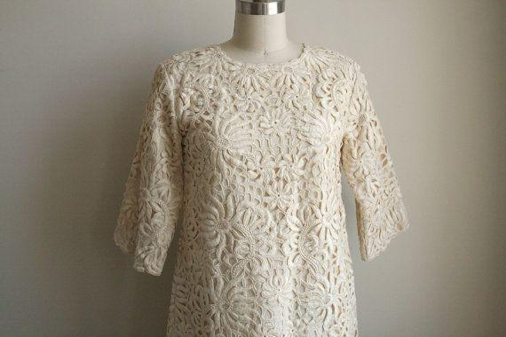 Battenburg Lace Wedding Dress - Mod Shift Dress - Ivory