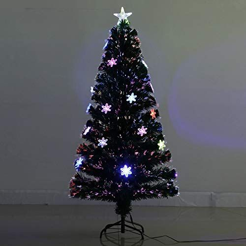 5fbc1bfb996 EFORINK 6ft Fiber Optic Christmas Tree Pre-lit PVC Artificial Xmas Tree  with Colorful Fiber Optic and 30 LED String Lights