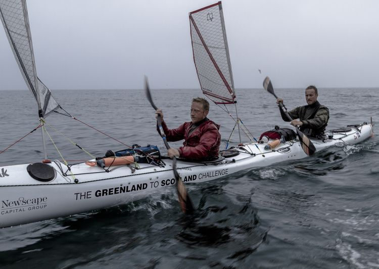 We wonder: what's the average speed of a tandem kayak crossing from Greenland to Scotland? Ask these guys.