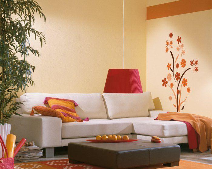 wandtattoos blumen wohnideen wohnzimmer farbig frisch Pinterest - wohnzimmer farblich gestalten