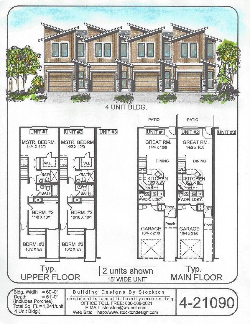Building Designs By Stockton Plan 4 21090 Town House Plans Family House Plans Town House Floor Plan