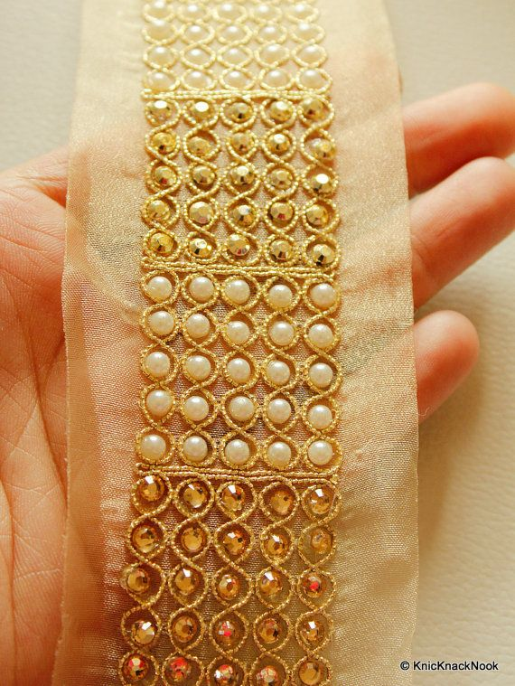 Embellishments & Finishes Sewing Indian Hand Beaded Bridal Dress Border 9 Yd Trim Ribbon Golden Craft Lace Ideal Gift For All Occasions