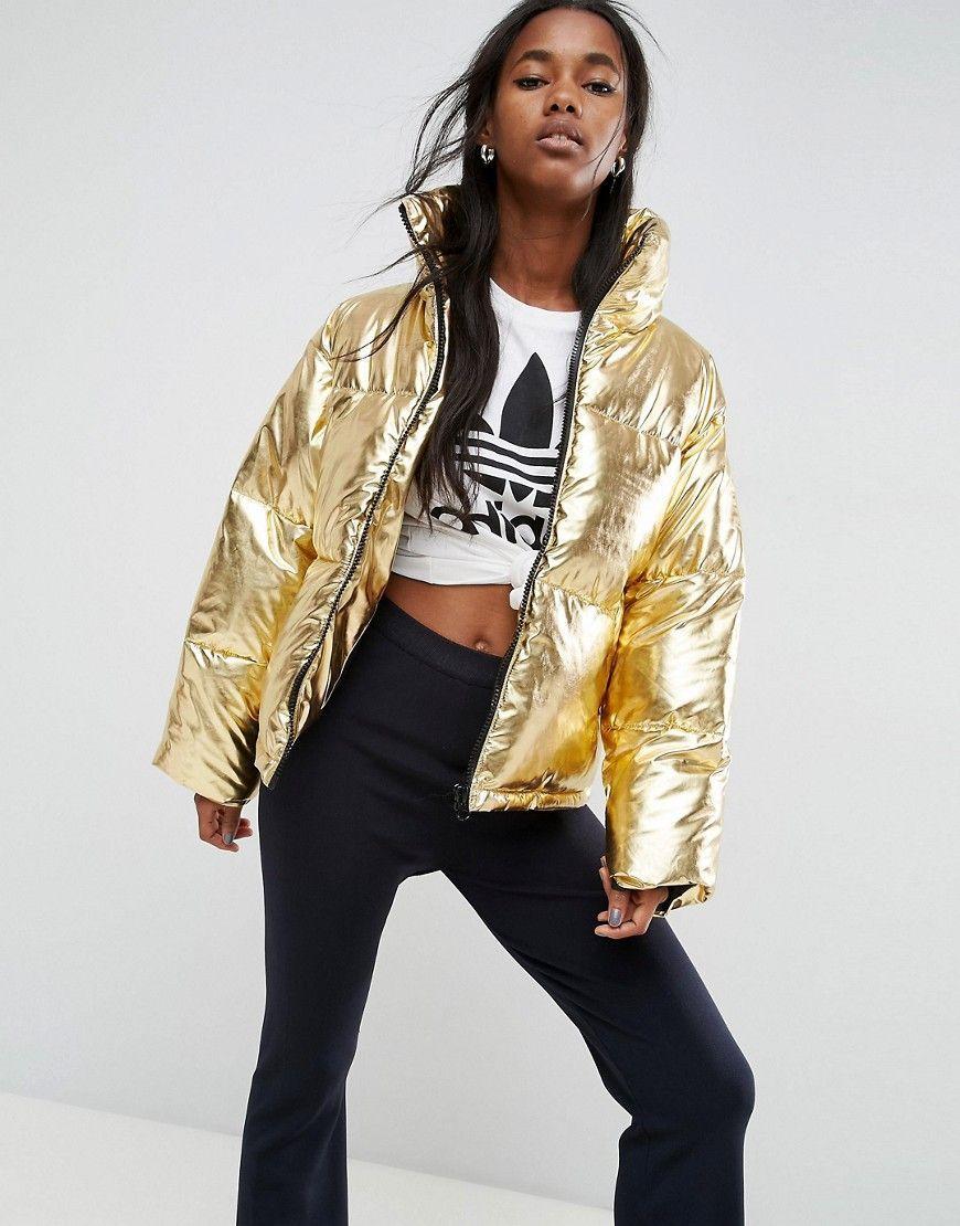 098e13b16e4 ASOS Metallic Puffer Jacket - Gold