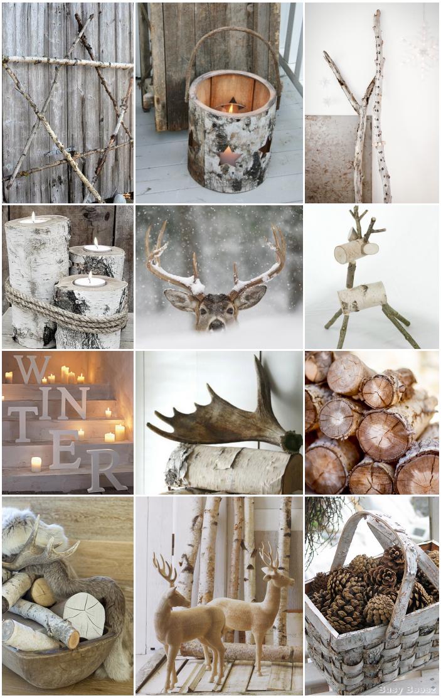Winter, rendieren, geweien, schors = natuurlijke kerst