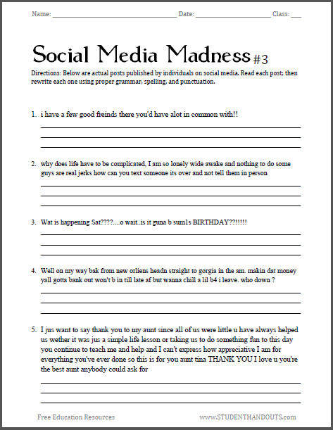 Social Media Madness Worksheet 3 This Is A Humorous