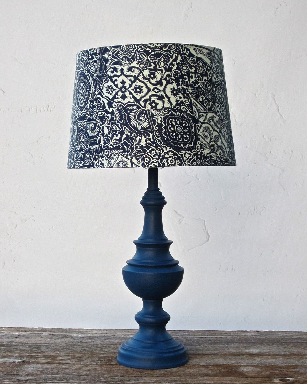 Table lamp navy blue nautical napoleonic cottage chic pattern lamp table lamp navy blue nautical napoleonic cottage chic pattern lamp shade hand painted hand waxed annie aloadofball