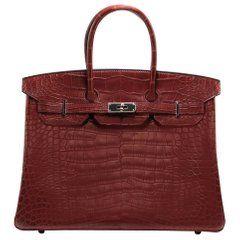 77b275f9bbc1 Hermes Matte Alligator Bourgogne 35cm Birkin Bag
