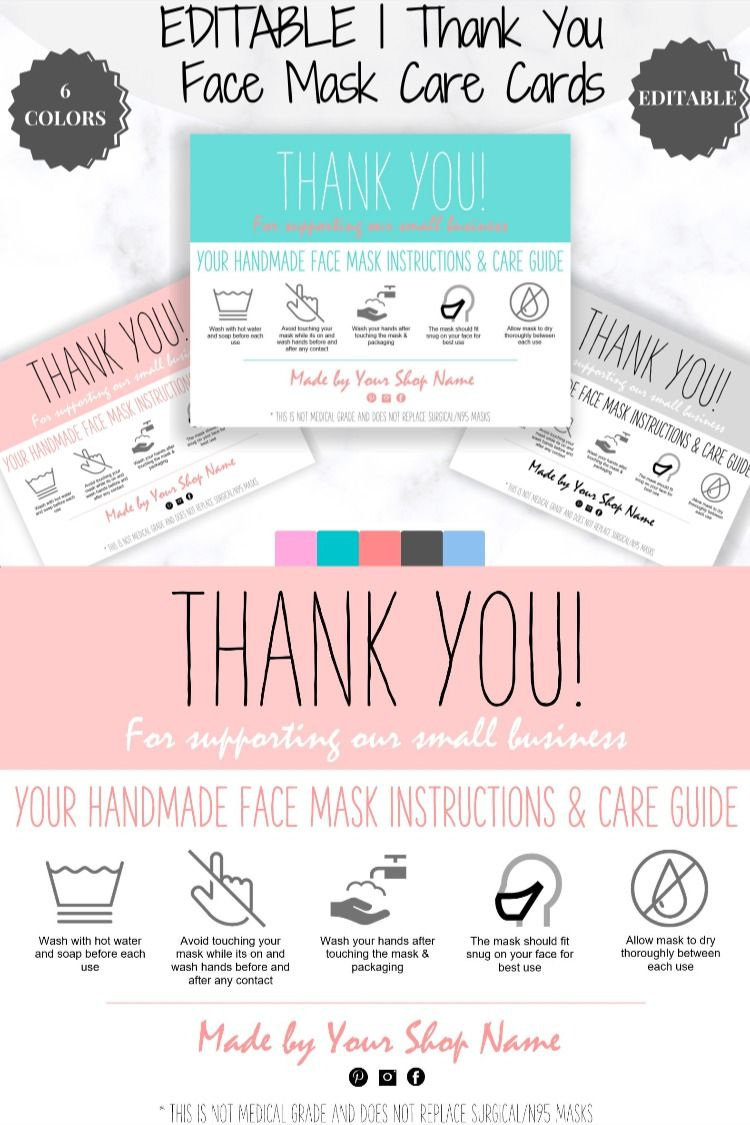 Editable Face Mask Label Care Card Thank You For Your Order Etsy Business Labels Labels Gift Certificate Template