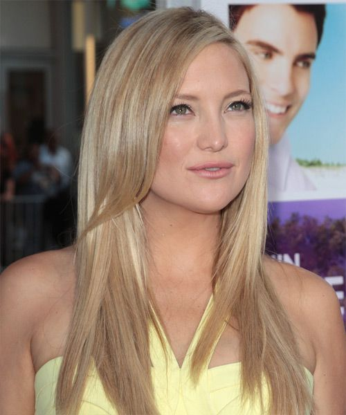 Kate Hudson Long Straight Light Champagne Blonde Hairstyle Beige