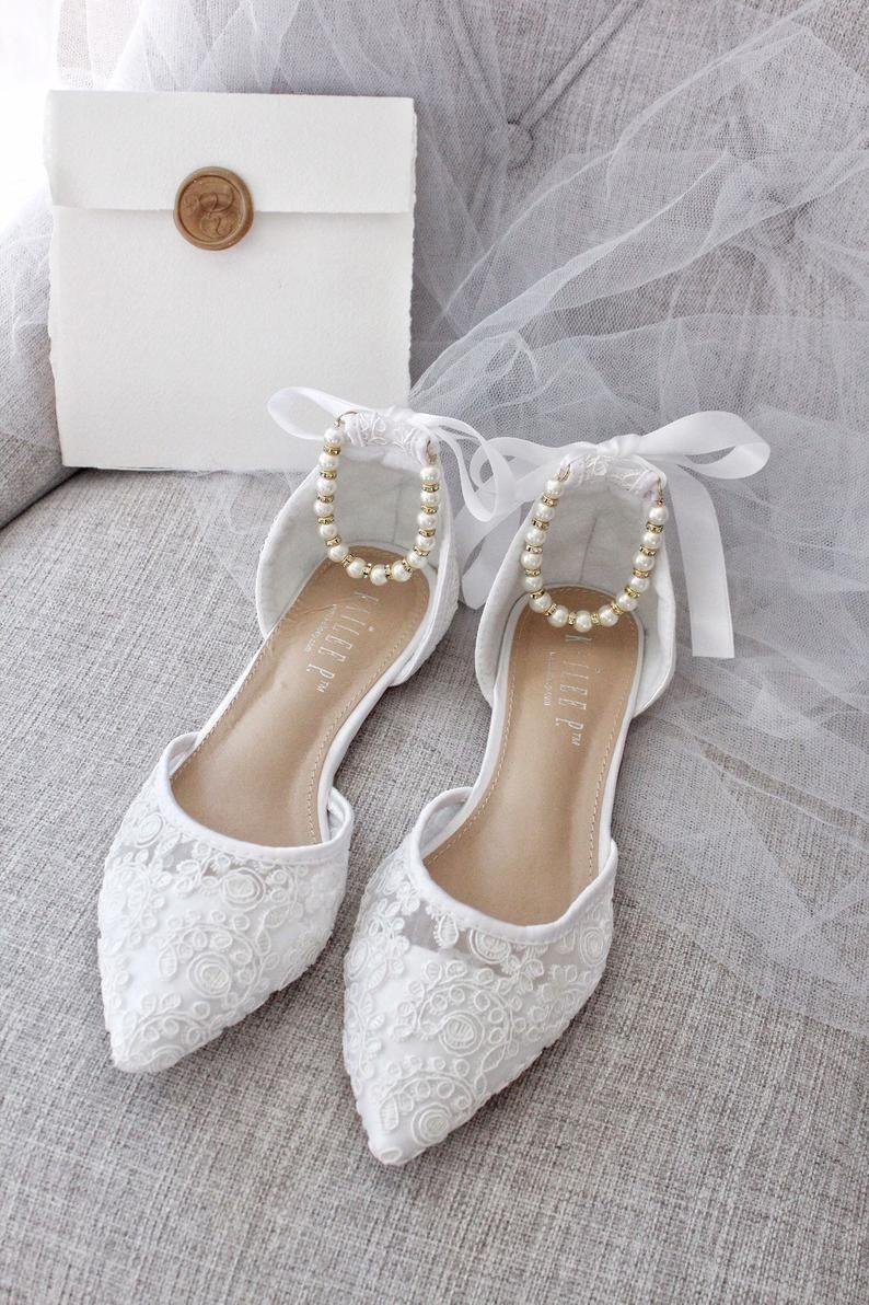 39++ White lace wedding flats ideas
