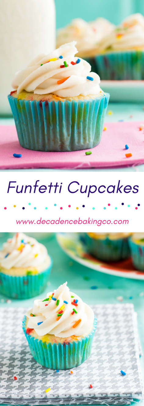Funfetti Cupcakes: A light, airy yellow butter cake filled with sprinkles and topped with a vanilla buttercream.