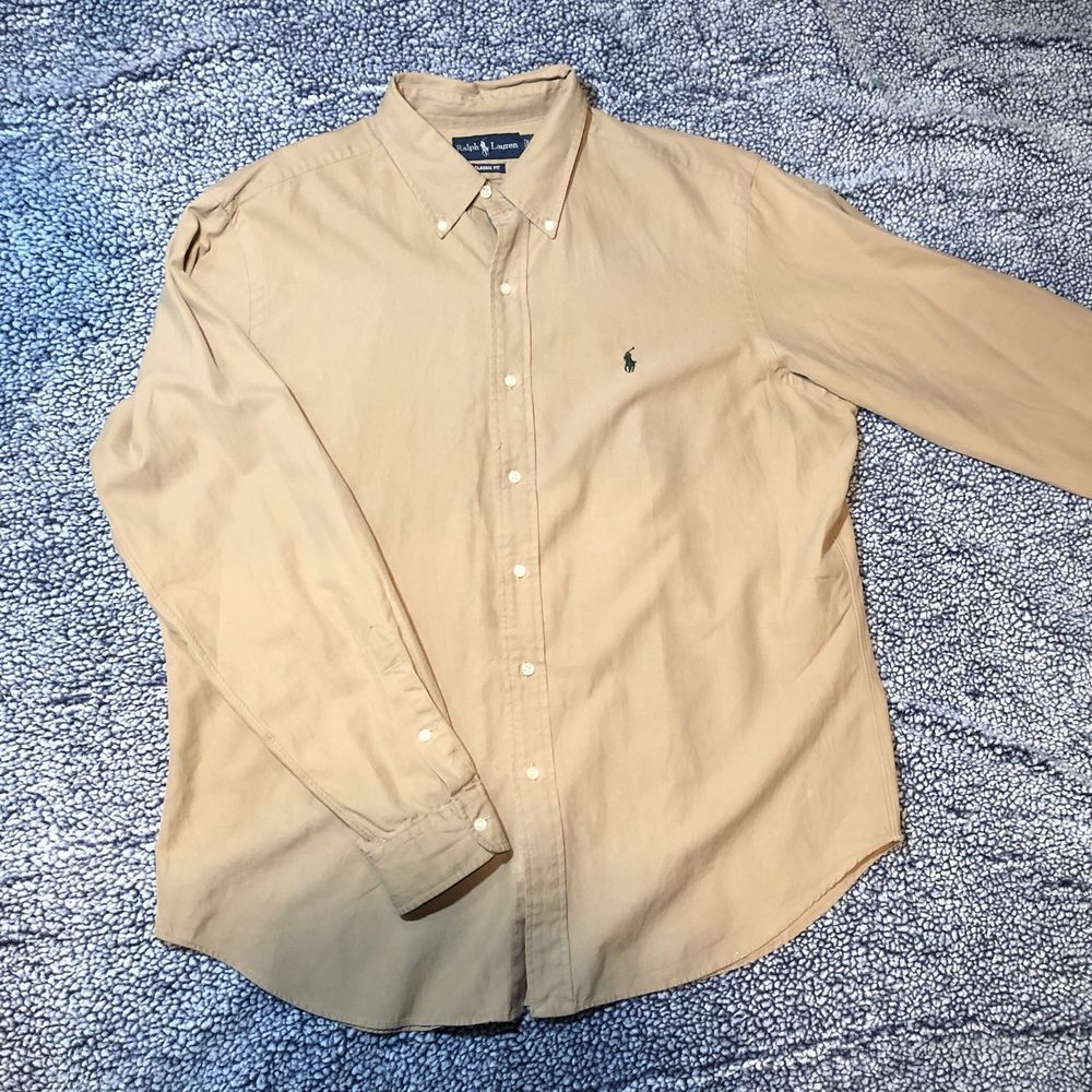 e681e848 Ralph Lauren Blake Mens Tan Long Sleeve Btn Up Shirt w/ Navy Pony sz ...