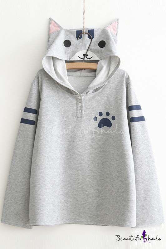 Women's Cute Cat Print Long Sleeve Loose Casual Pullover Hoodie ...