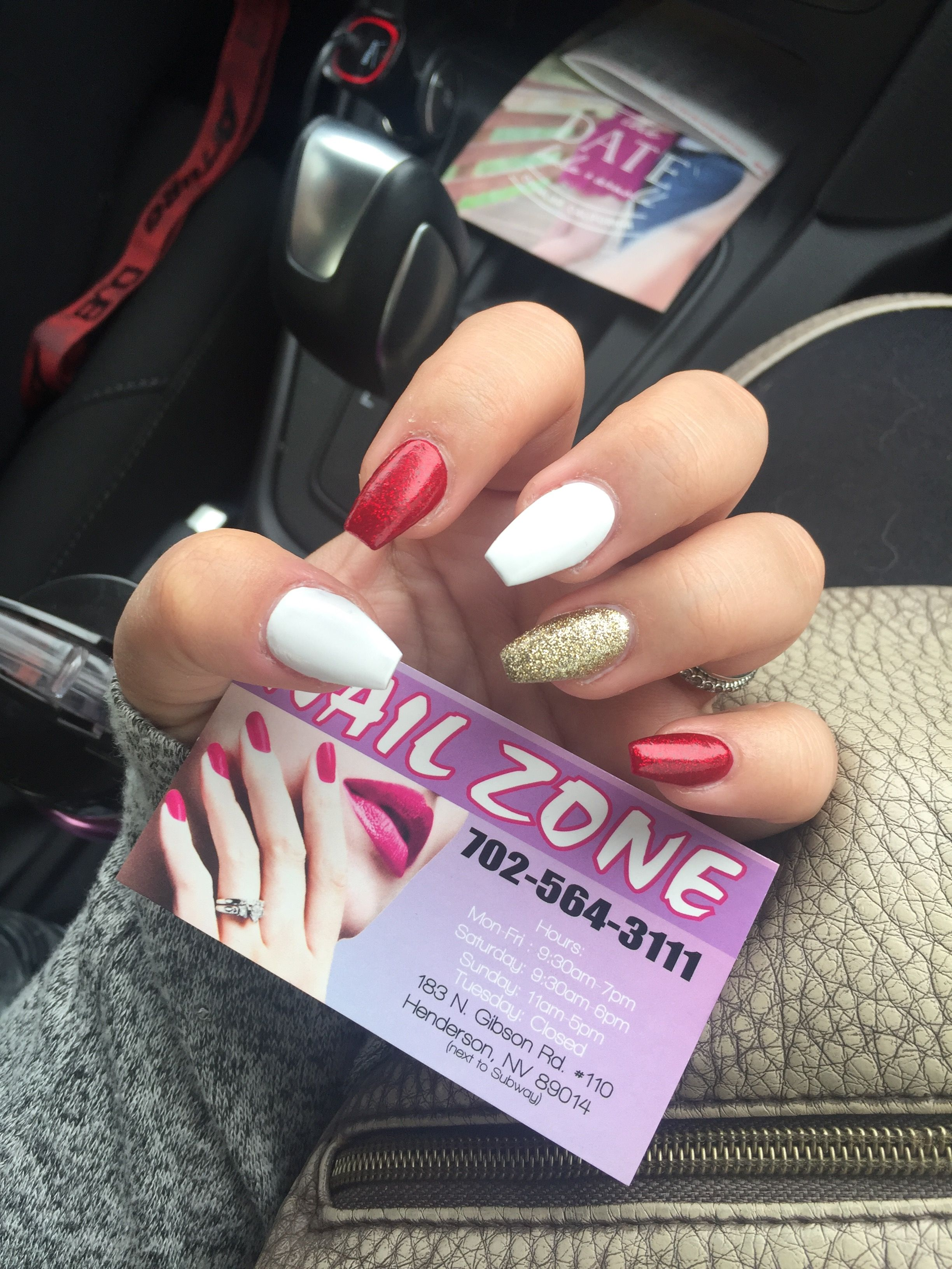 Coffin Holiday Nails Red White Gold Christmas Nails Red Nails Christmas Nails Holiday Nails