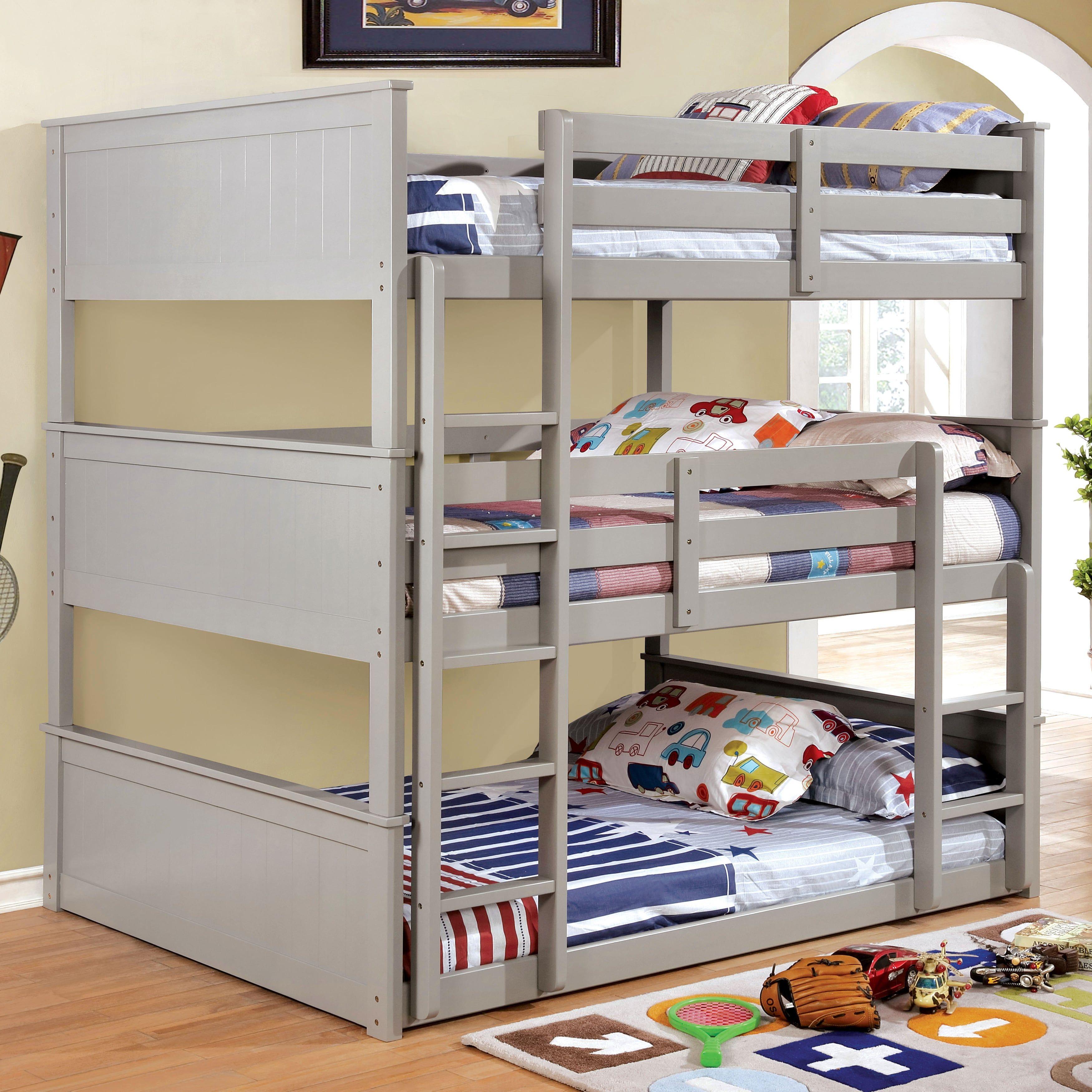 Furniture Of America Baligio Wood Transitional Triple Decker Bunk Bed