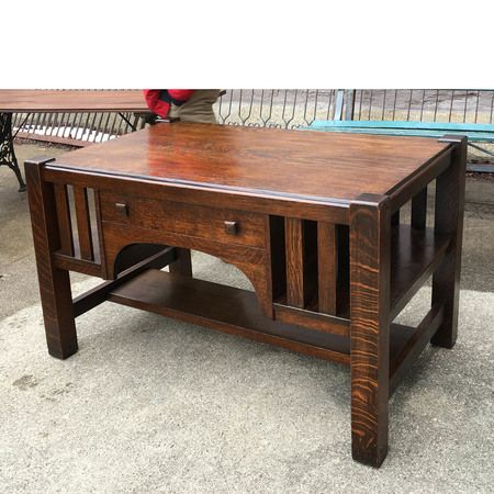 Sharing is caring!  F17008 - Antique Quartersawn Oak Arts and Crafts Library Table #https://www.pinterest.com/munlimited/