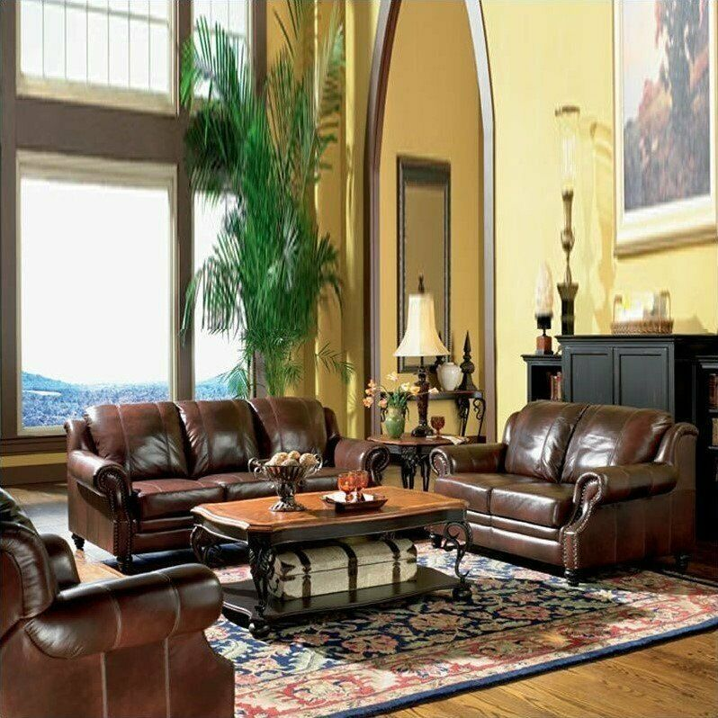 Best Coaster Princeton 3 Piece Leather Sofa Living Room Set In 640 x 480