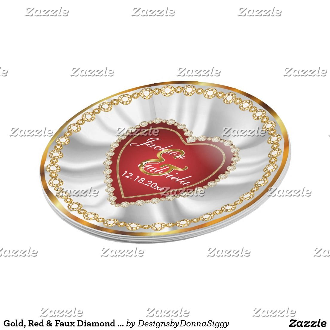 Gold, Red & Faux Diamond Wedding or Anniversary Paper Plate ...