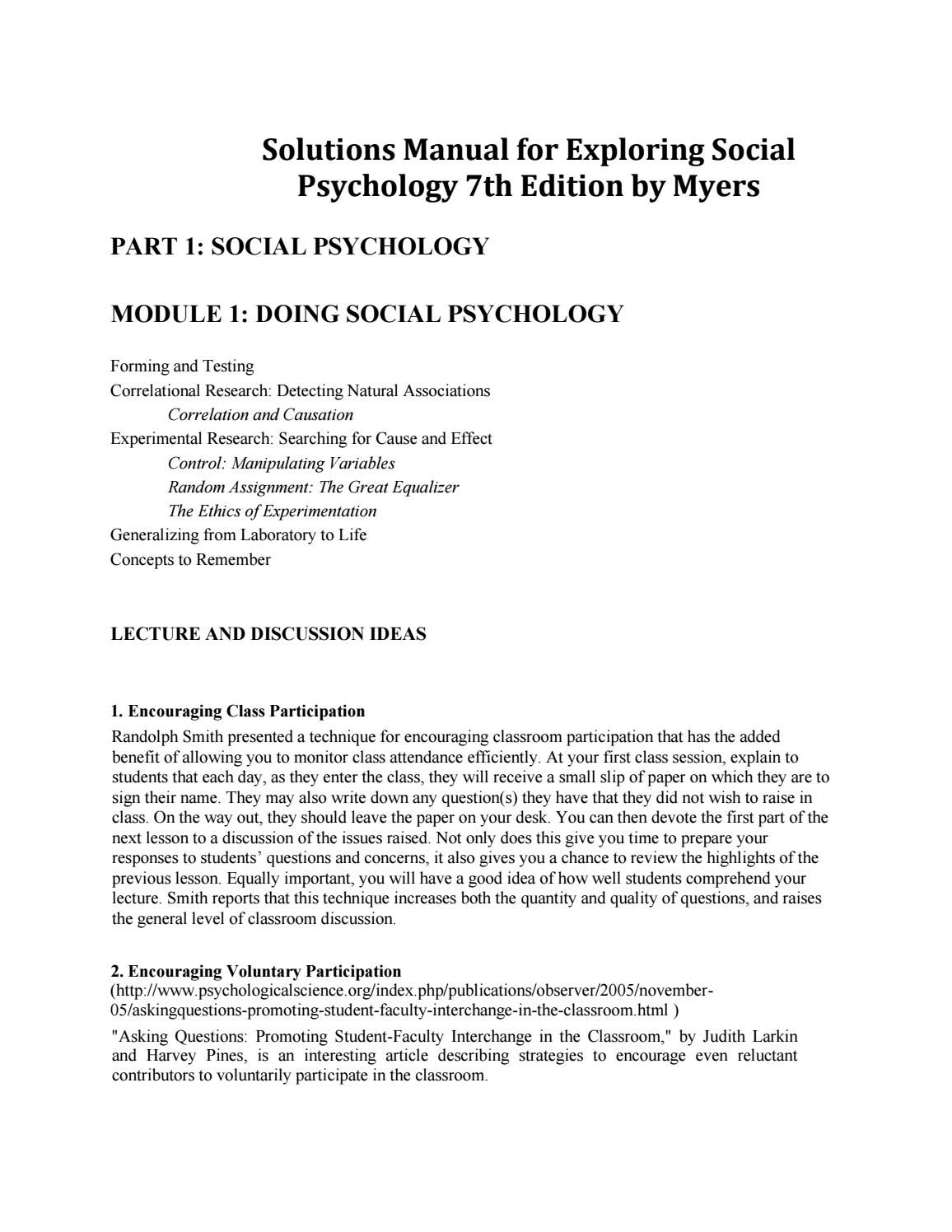 Download solutions manual for exploring social psychology 7th edition by  myers