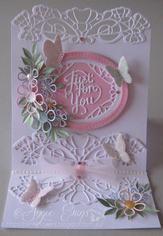 My version - Sue Wilson Easel Card by PennyFlowers - Cards and Paper Crafts at Splitcoaststampers