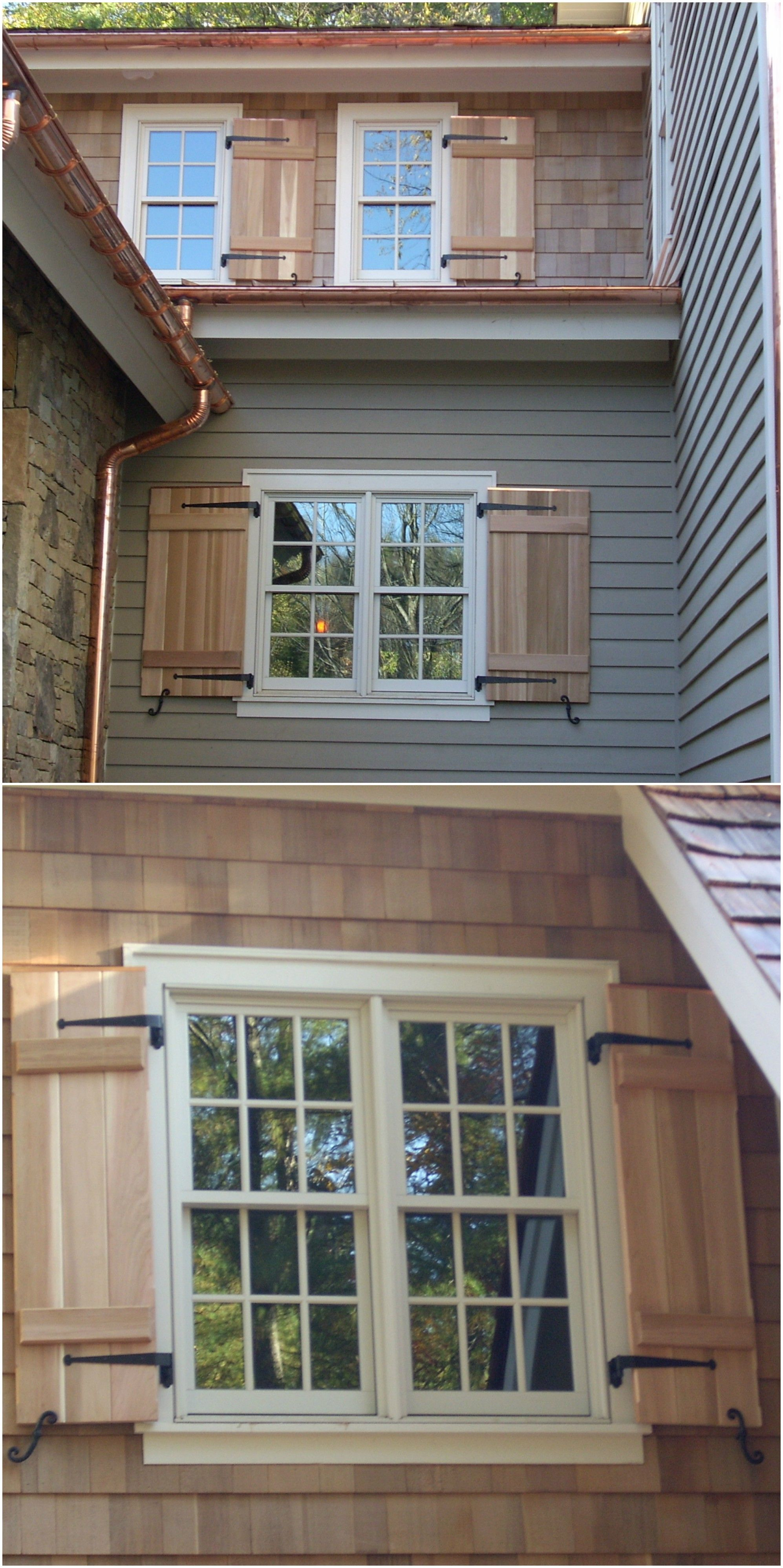 natural cedar wood shutters with black metal hardware looks great with the copper colored