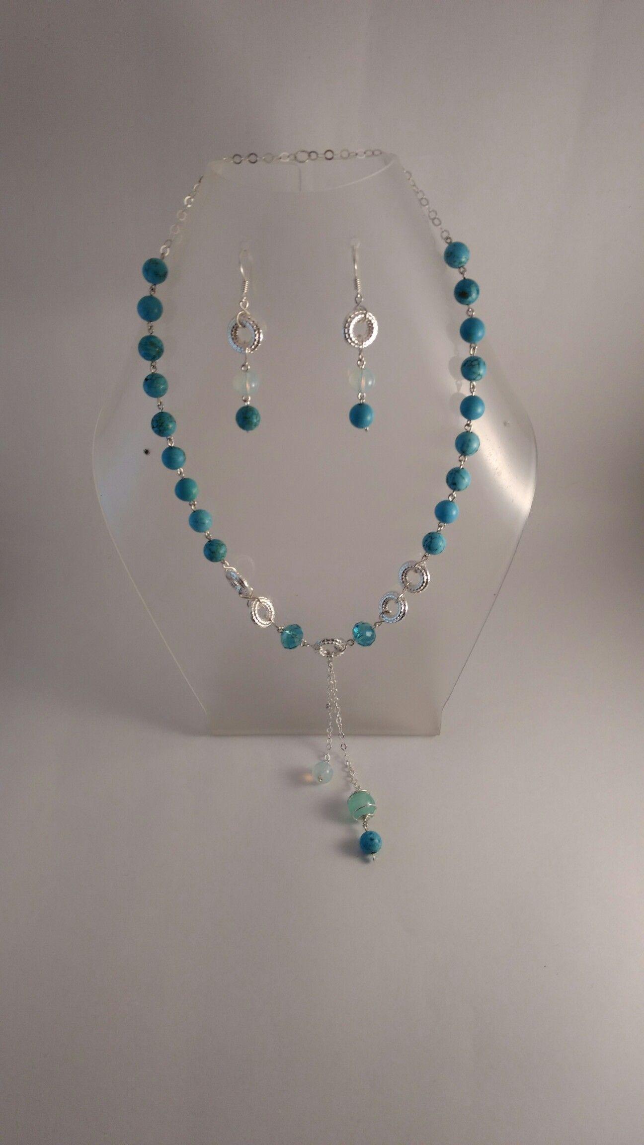 10a053526abe Collar de plata cristales turquesa y rayo de luna