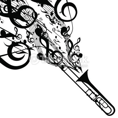 Vector Art Vector Silhouette Of Trombone With Musical Symbols