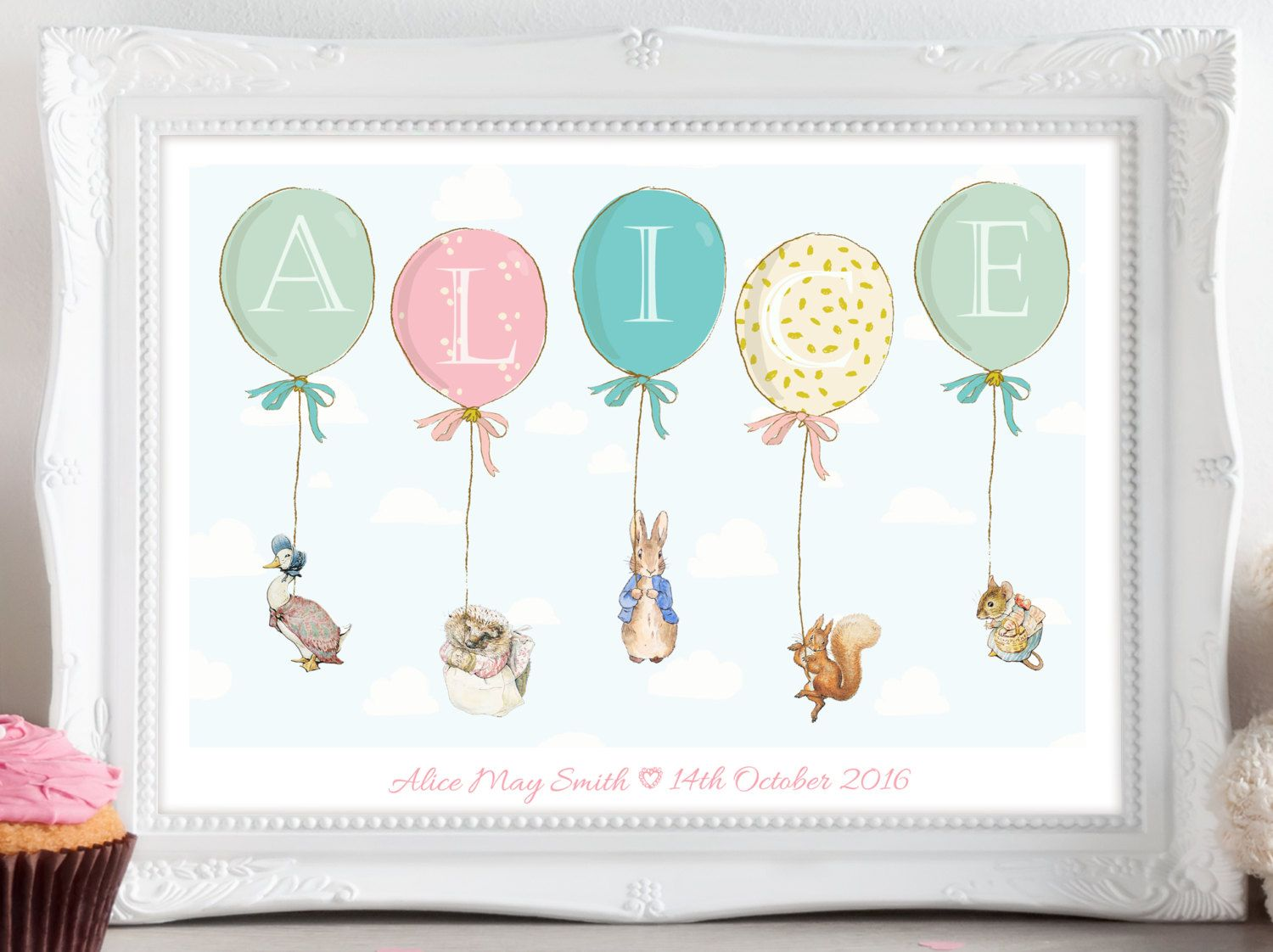personalised new baby boy girl peter rabbit nursery birth name personalised peter rabbit beatrix potter balloon print picture christening birthday gift present for baby nursery wall art unframed by daisyanddoodles on