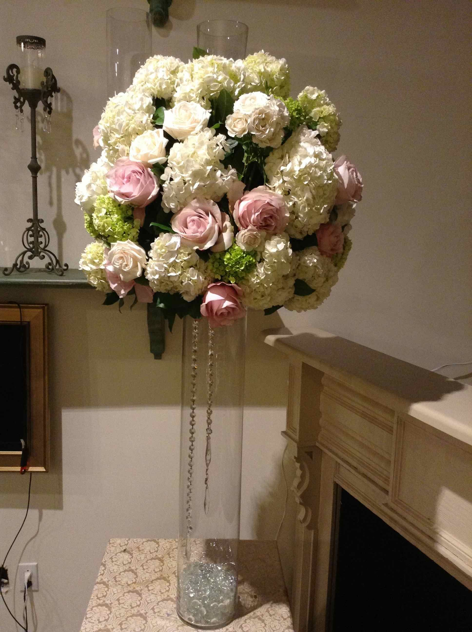 White hydrangea with Secret Garden roses and baby green hydrangea.