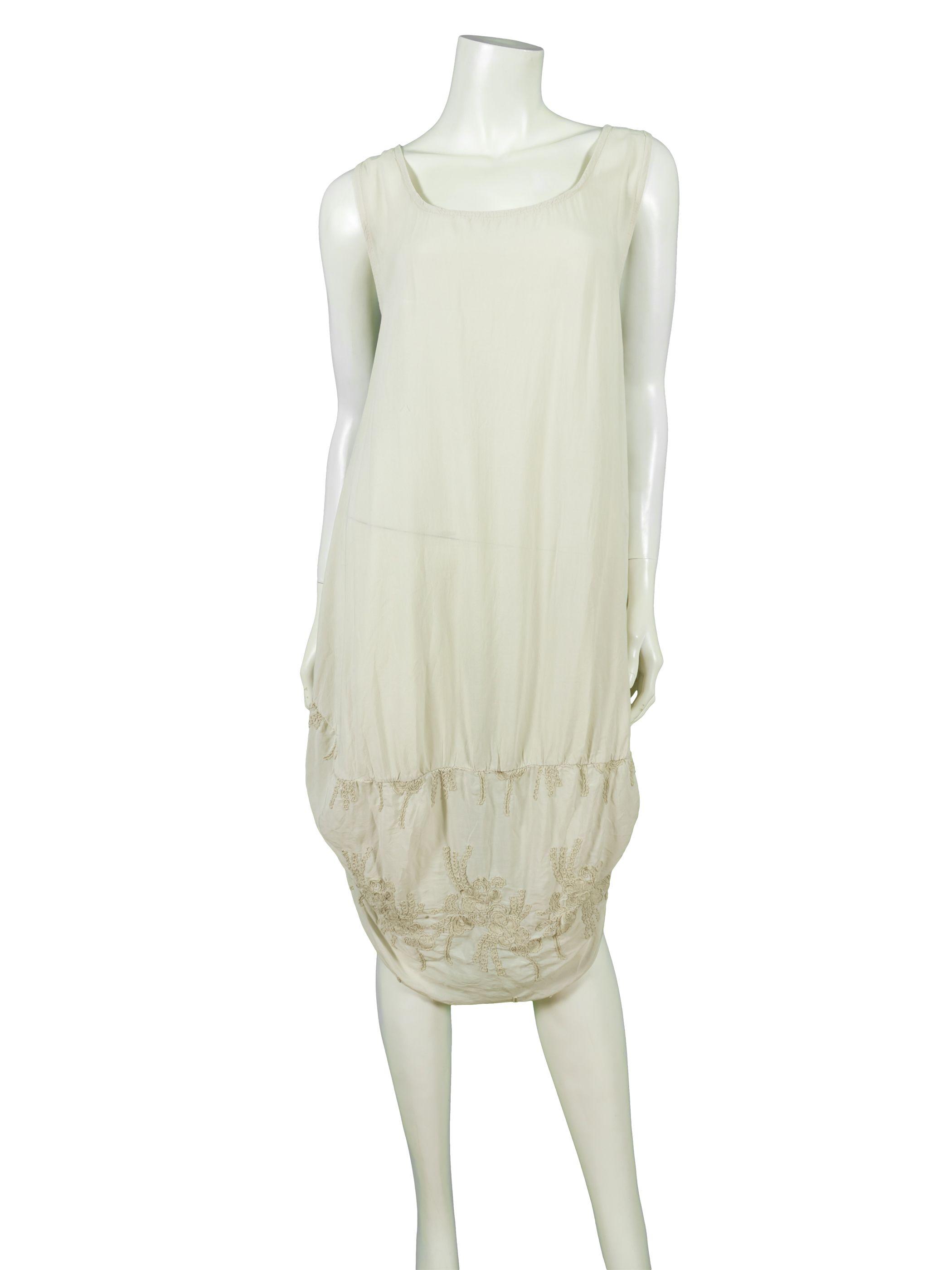 Kleid mit stickerei taupe creme